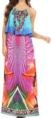 Sakkas Itika Sleeveless Printed Overlay Maxi Dress | Cover Up with Ruched Neckline