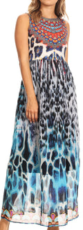 Sakkas Afia Animal Print Empire Waist sleeveless Long Dress with Embellishment#color_17211-Blackmulti