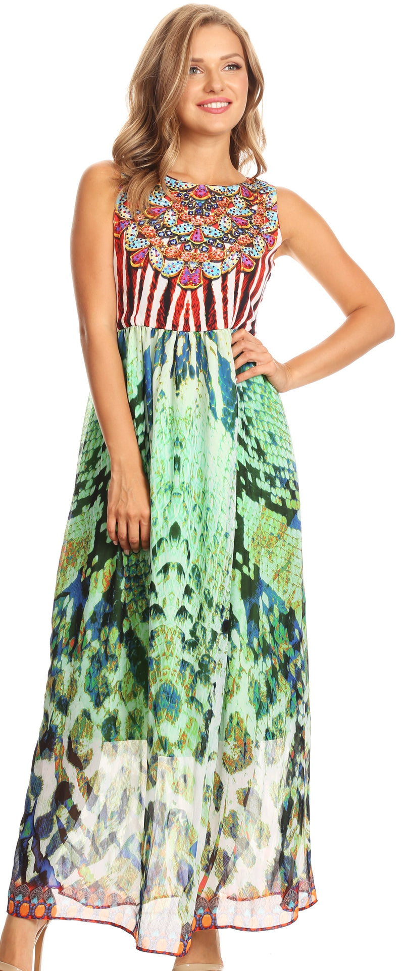 Sakkas Afia Animal Print Empire Waist sleeveless Long Dress with Embellishment