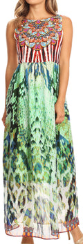 Sakkas Afia Animal Print Empire Waist sleeveless Long Dress with Embellishment#color_17212-Greenmulti