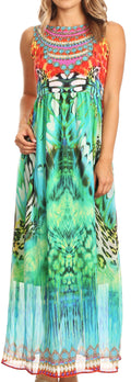 Sakkas Afia Animal Print Empire Waist sleeveless Long Dress with Embellishment#color_17213-Orangemulti