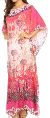 Sakkas Jabari Long Kaftan Dress with Boat-neck Floral Paisley Print & Rhinestones