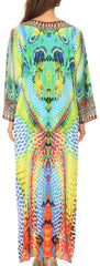 Sakkas Khari V-neck Long Kaftan Dress with Colorful Print and Rhinestones