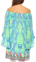 Sakkas Mosi Colorful Shift Dress Tunic with Bell Ruffled Sleeves & Rhinestones