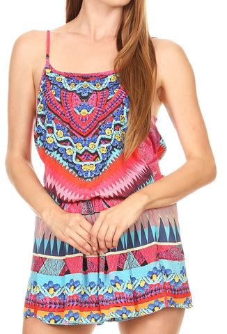 Sakkas Sade Colorful Sleeveless Short Romper with Pockets and Rhinestones