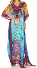 Sakkas Anahi Flowy Design V Neck Long Caftan Dress / Cover Up With Rhinestone#color_17164-Turq / Orange