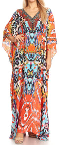 Sakkas Anahi Flowy Design V Neck Long Caftan Dress / Cover Up With Rhinestone#color_17167-Orange Multi