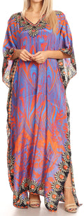 Sakkas Anahi Flowy Design V Neck Long Caftan Dress / Cover Up With Rhinestone#color_17168-Purple / Orange