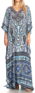 Sakkas Anahi Flowy Design V Neck Long Caftan Dress / Cover Up With Rhinestone#color_17170- Navy / Blue