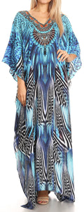 Sakkas Anahi Flowy Design V Neck Long Caftan Dress / Cover Up With Rhinestone#color_17171-Black / Blue
