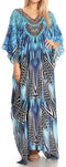 Sakkas Anahi Flowy Design V Neck Long Caftan Dress / Cover Up With Rhinestone