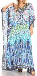 Sakkas Anahi Flowy Design V Neck Long Caftan Dress / Cover Up With Rhinestone#color_17172-Black / Turq