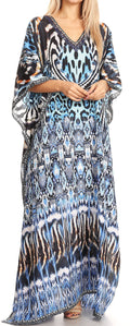 Sakkas Anahi Flowy Design V Neck Long Caftan Dress / Cover Up With Rhinestone#color_17173-Black / White / Turq