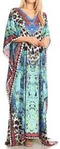 Sakkas Anahi Flowy Design V Neck Long Caftan Dress / Cover Up With Rhinestone#color_17174-Turq / Black