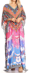 Sakkas Anahi Flowy Design V Neck Long Caftan Dress / Cover Up With Rhinestone#color_17176-Pink / Orange