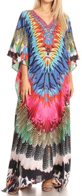 Sakkas Anahi Flowy Design V Neck Long Caftan Dress / Cover Up With Rhinestone#color_17177-Pink Multi
