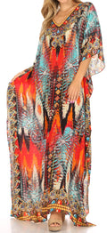 Sakkas Anahi Flowy Design V Neck Long Caftan Dress / Cover Up With Rhinestone#color_17178-Turq / Red