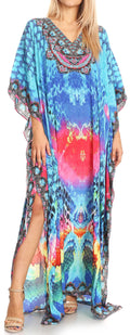 Sakkas Anahi Flowy Design V Neck Long Caftan Dress / Cover Up With Rhinestone#color_17179-Turq / Pink