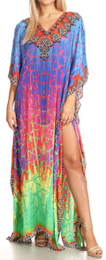 Sakkas Anahi Flowy Design V Neck Long Caftan Dress / Cover Up With Rhinestone#color_17181-Green / Blue