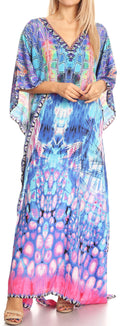 Sakkas Anahi Flowy Design V Neck Long Caftan Dress / Cover Up With Rhinestone#color_17182-Turq / Pink