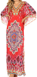 Sakkas Anahi Flowy Design V Neck Long Caftan Dress / Cover Up With Rhinestone#color_17183-Red / Blue