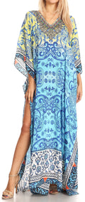 Sakkas Anahi Flowy Design V Neck Long Caftan Dress / Cover Up With Rhinestone#color_17184-Yellow / Blue