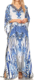 Sakkas Anahi Flowy Design V Neck Long Caftan Dress / Cover Up With Rhinestone#color_17186-Blue / White