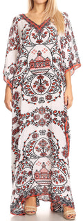 Sakkas Anahi Flowy Design V Neck Long Caftan Dress / Cover Up With Rhinestone#color_17187-White / Red