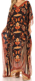 Sakkas Anahi Flowy Design V Neck Long Caftan Dress / Cover Up With Rhinestone#color_17188-Black / Brown
