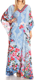 Sakkas Anahi Flowy Design V Neck Long Caftan Dress / Cover Up With Rhinestone#color_17189-Red / Blue