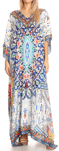 Sakkas Anahi Flowy Design V Neck Long Caftan Dress / Cover Up With Rhinestone#color_17190-Blue / Orange / Navy