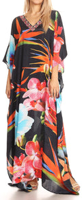 Sakkas Anahi Flowy Design V Neck Long Caftan Dress / Cover Up With Rhinestone#color_17191-Black Multi