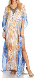 Sakkas Anahi Flowy Design V Neck Long Caftan Dress / Cover Up With Rhinestone#color_17192-White / Turq