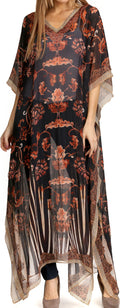Sakkas Wilder  Printed Design Long Sheer Rhinestone Caftan Dress / Cover Up#color_Black / Brown