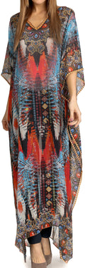Sakkas Wilder  Printed Design Long Sheer Rhinestone Caftan Dress / Cover Up#color_Turquoise / Red