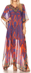 Sakkas Wilder  Printed Design Long Sheer Rhinestone Caftan Dress / Cover Up#color_17139-PurpleOrange