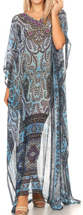 Sakkas Wilder  Printed Design Long Sheer Rhinestone Caftan Dress / Cover Up#color_17141-NavyBlue