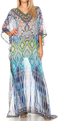 Sakkas Wilder  Printed Design Long Sheer Rhinestone Caftan Dress / Cover Up#color_17143-BlackTurquoise