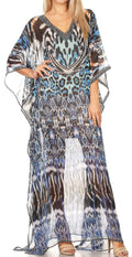 Sakkas Wilder  Printed Design Long Sheer Rhinestone Caftan Dress / Cover Up#color_17144-BlackWhiteTuq