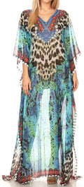 Sakkas Wilder  Printed Design Long Sheer Rhinestone Caftan Dress / Cover Up#color_17145-TurquoiseBlack