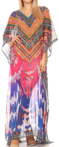 Sakkas Wilder  Printed Design Long Sheer Rhinestone Caftan Dress / Cover Up#color_17147-PinkOrange