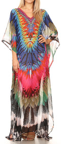 Sakkas Wilder  Printed Design Long Sheer Rhinestone Caftan Dress / Cover Up#color_17148-PinkBlack