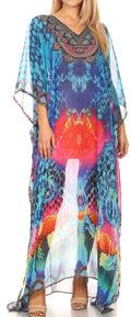 Sakkas Wilder  Printed Design Long Sheer Rhinestone Caftan Dress / Cover Up#color_17150-BluePink