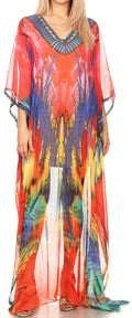 Sakkas Wilder  Printed Design Long Sheer Rhinestone Caftan Dress / Cover Up#color_17151-PinkBlue