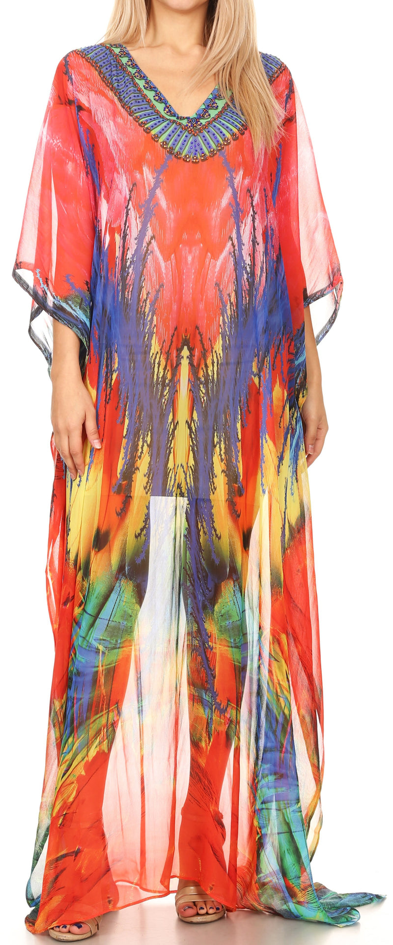 Sakkas Wilder  Printed Design Long Sheer Rhinestone Caftan Dress / Cover Up