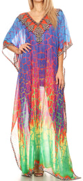 Sakkas Wilder  Printed Design Long Sheer Rhinestone Caftan Dress / Cover Up#color_17152-GreenBlue