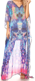 Sakkas Wilder  Printed Design Long Sheer Rhinestone Caftan Dress / Cover Up#color_17153-TruquoisePink