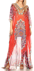 Sakkas Wilder  Printed Design Long Sheer Rhinestone Caftan Dress / Cover Up#color_17154-RedBlue