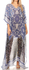 Sakkas Wilder  Printed Design Long Sheer Rhinestone Caftan Dress / Cover Up#color_17156-BlackWhiteBlue