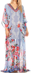 Sakkas Wilder  Printed Design Long Sheer Rhinestone Caftan Dress / Cover Up#color_17160-RedBlue